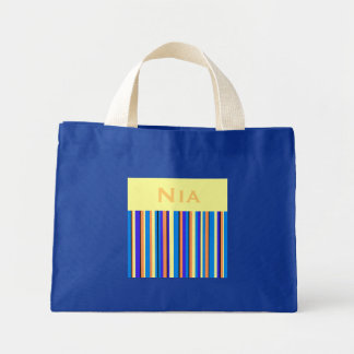 Nia Stripes Blue Personalized Tote