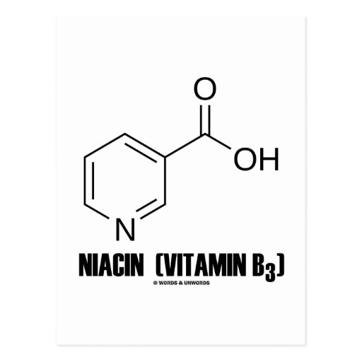 Niacin (Vitamin B3) Chemical Molecule Postcard