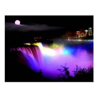 Niágara-Caída-debajo-reflector-en-noche Postales
