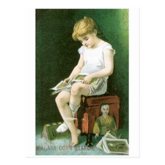 Niagara Corn Starch Girl Reading Postcards