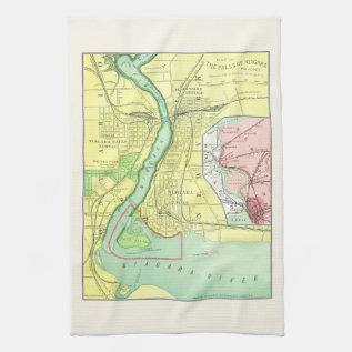 Niagara Falls And Vicinity Vintage Map 1885 Hand Towel at Zazzle