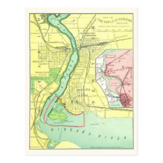 Niagara Falls And Vicinity Vintage Map 1885 Postcard at Zazzle