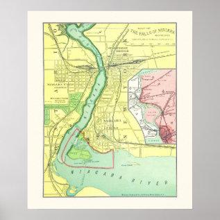 Niagara Falls And Vicinity Vintage Map 1885 Poster at Zazzle
