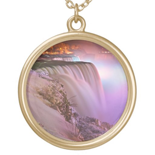 Niagara Falls at Winter from Prospect Point Round Pendant Necklace