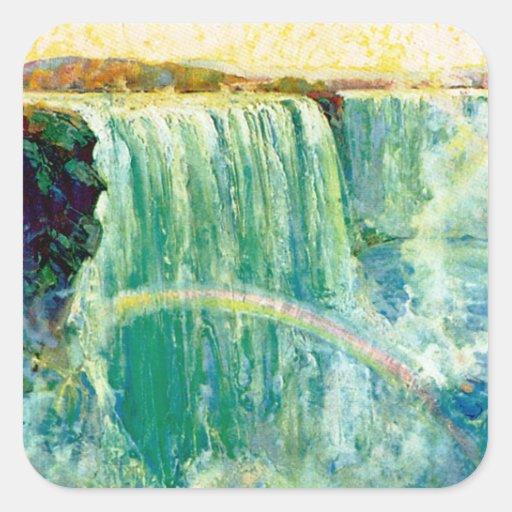 Niagara Falls Calcomania Cuadradas