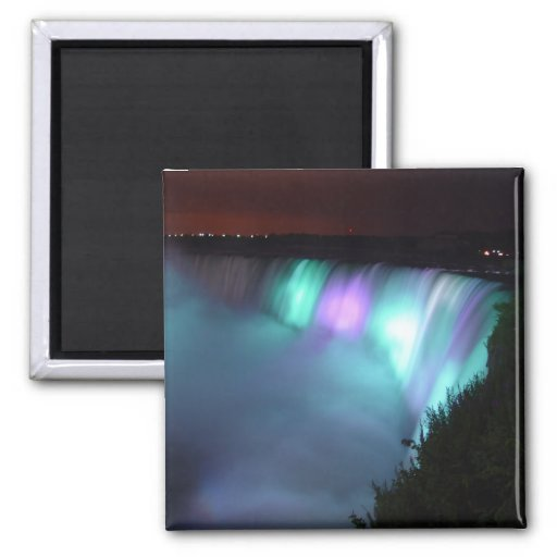 Niagara Falls Canada Night Purple Aqua Magnet