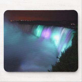 Niagara Falls Canada Night Purple Aqua Mousepad