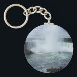 """Niagara Falls Keychain<br><div class=""""desc"""">My Niagara Falls items are all created from my own photograph,  taken in August 2012,  and show the amazing mist rising into the sky,  and the Maid of the Mist sitting at the base of the falls on the Canada side.</div>"""