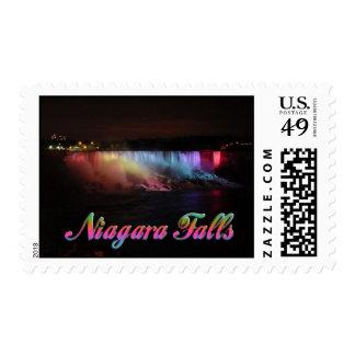 Niagara Falls Lights at Night Postage Stamp
