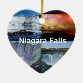 Niagara Falls New York Double-Sided Heart Ceramic Christmas Ornament