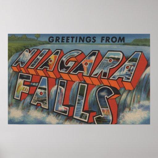 Niagara Falls, New York - Large Letter Scenes Poster