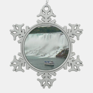 Niagara Falls on the Canadian Side Snowflake Pewter Christmas Ornament