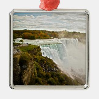 Niagara Falls Square Metal Christmas Ornament