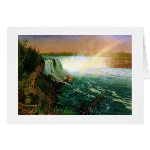 Niagara falls painting art artist Albert Bierstadt Greeting Card