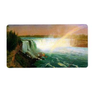 Niagara falls painting art artist Albert Bierstadt Label