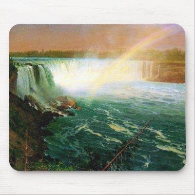 Niagara falls painting art artist Albert Bierstadt Mousepads by ...