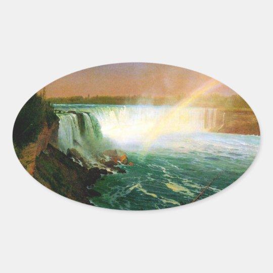 Niagara falls painting art artist Albert Bierstadt Oval Sticker