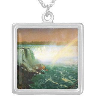 Niagara falls painting art artist Albert Bierstadt Square Pendant Necklace
