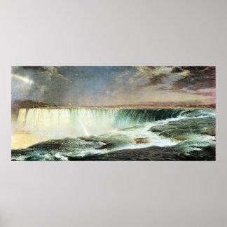 Niagara Falls por la iglesia de Federico Edwin Poster