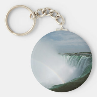 Niagara Falls Rainbow Basic Round Button Keychain