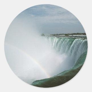 Niagara Falls Rainbow Classic Round Sticker