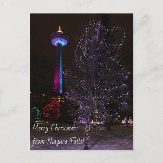 Niagara Falls Skylon Tower with Christmas Lights Holiday Postcard