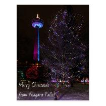 Niagara Falls Skylon Tower with Christmas Lights Postcard