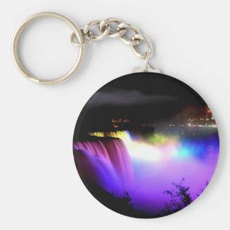 Niagara-Falls-under-floodlights-at-night Basic Round Button Keychain