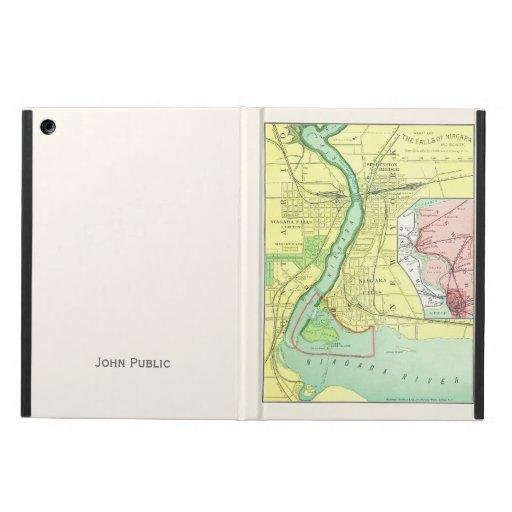 Niagara Falls y aire 1885 del iPad del mapa de la