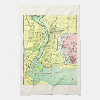 Niagara Falls y mapa 1885 del vintage de la Toallas De Cocina
