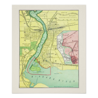 Niagara Falls y mapa 1885 del vintage de la vecind Impresiones