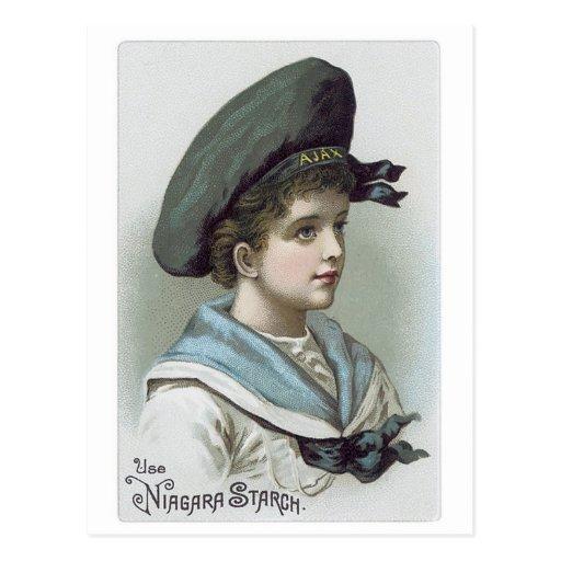 Niagara Starch - Little Boy Ajax Hat Postcard