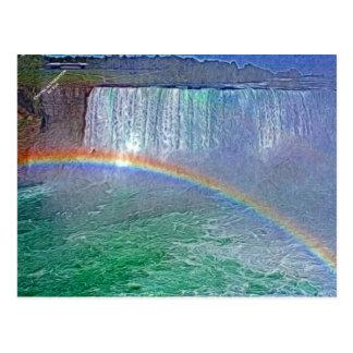 Niagara waterfalls rainbow postcard