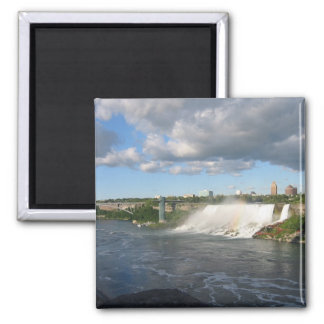 Niagra Falls And View Of American Side From Canada 2 Inch Square Magnet