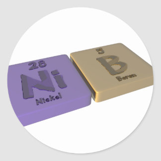 Nib as Ni Nickel and B Boron Classic Round Sticker