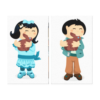 Nibbling Easter Girl and Boy Wrapped Canvas Canvas Print