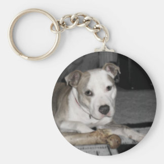 Nibs and his Bone Basic Round Button Keychain