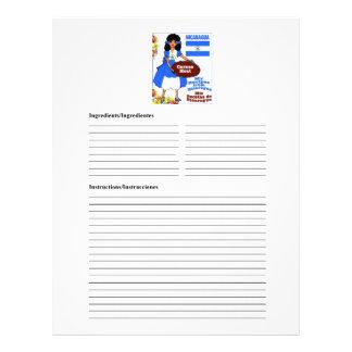Nicaragua blank meat recipe cards
