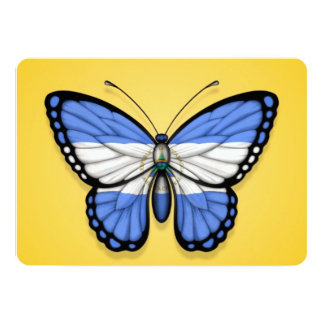Nicaragua Butterfly Flag on Yellow Card