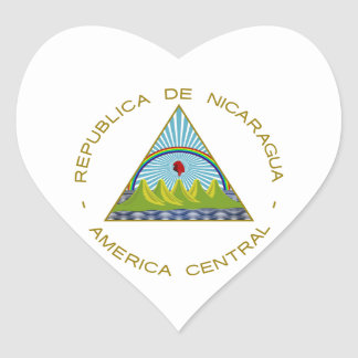 Nicaragua Coat of Arms Heart Sticker