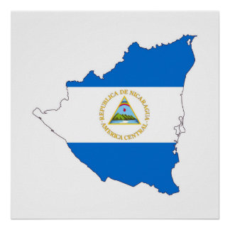 nicaragua country flag map shape symbol poster