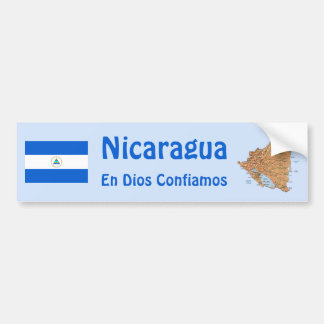 Nicaragua Flag and Map Bumper Sticker Car Bumper Sticker