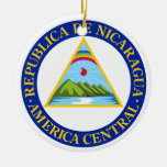 NICARAGUA -  flag/emblem/coat of arms/symbol Double-Sided Ceramic Round Christmas Ornament