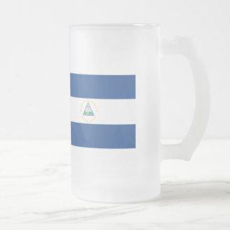 Nicaragua Flag Frosted Glass Beer Mug