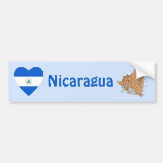 Nicaragua Flag Heart + Map Bumper Sticker Car Bumper Sticker