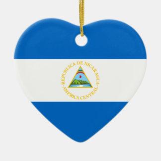 Nicaragua Flag Heart Ornament