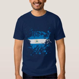 Nicaragua Flag Ink Splatter Tee Shirt