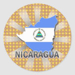 Nicaragua Flag Map 2.0 Round Stickers