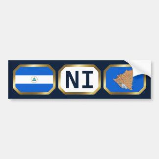Nicaragua Flag Map Code Bumper Sticker Car Bumper Sticker