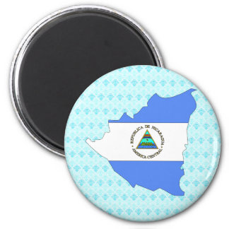 Nicaragua Flag Map full size 2 Inch Round Magnet
